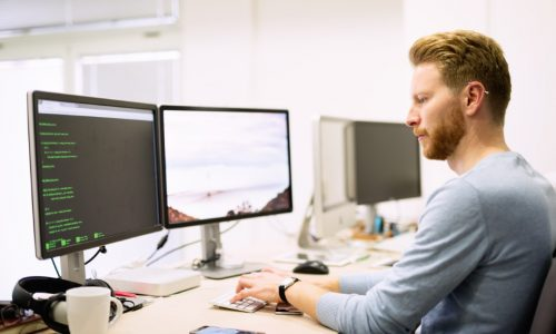 Programmer working in a software developing company office